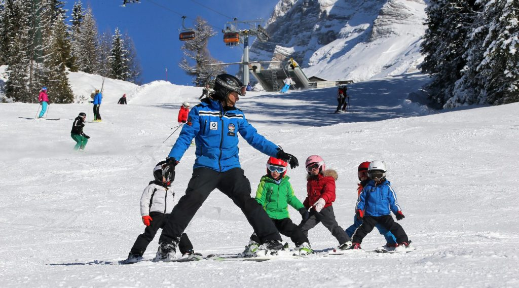 Kinder Skifahren in La Crusc