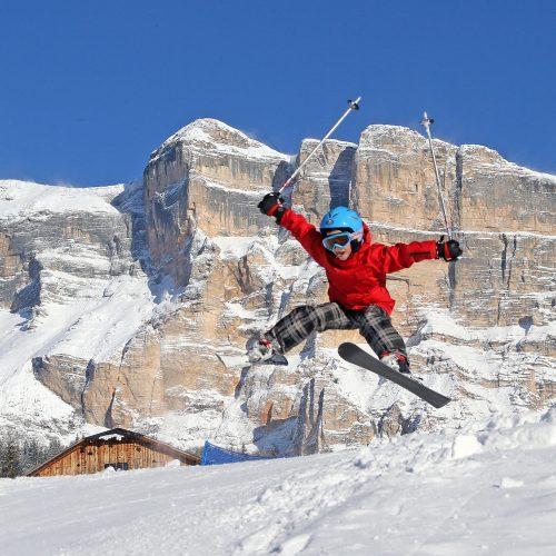 Skifahren in La Crusc. Ein Spaß für Groß und Klein.